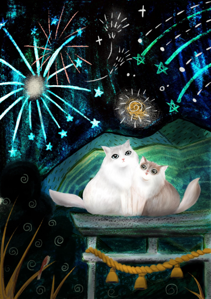 Cats and firework
