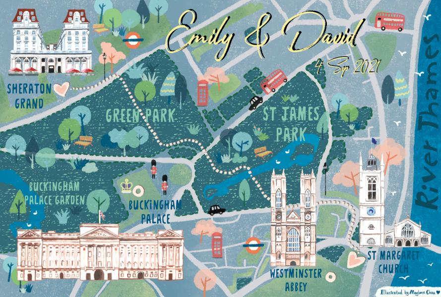 London Wedding Map Illustration