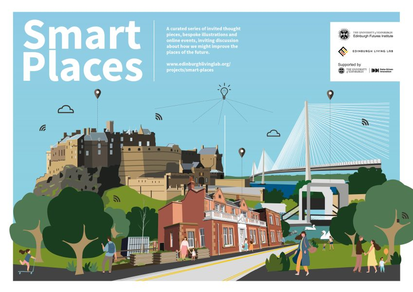 Vector illustration of Edinburgh for the Edinburgh Futures Institute's 'Smart Places' series