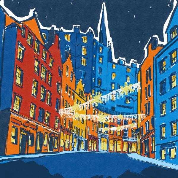 Architectural illustration of Victoria St, Edinburgh by Jenny Elliott