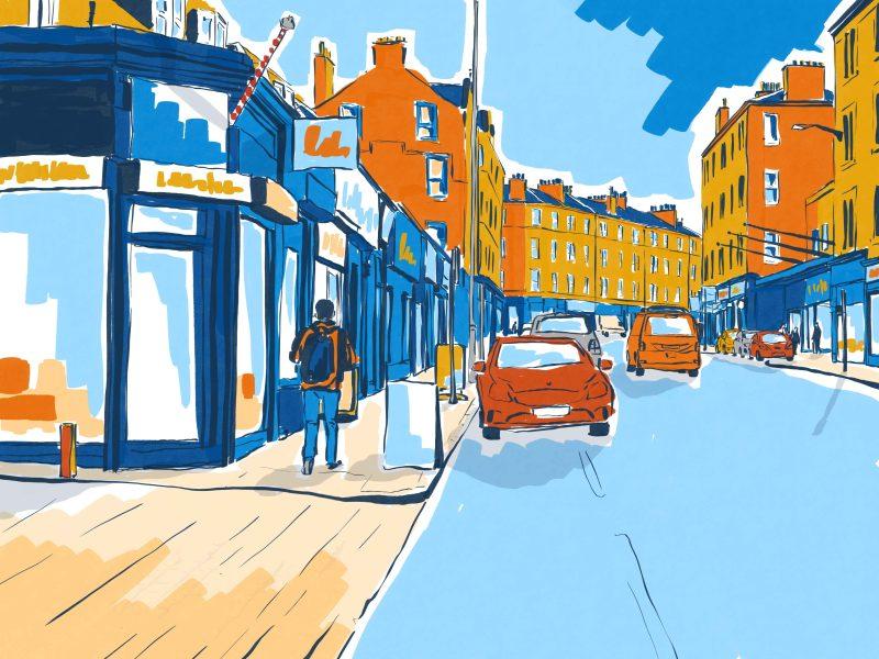 Architectural illustration of Dalry Road, Haymarket, Edinburgh