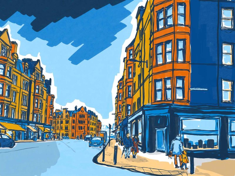 Architectural illustration of Bruntsfield Place, Edinburgh by Jenny Elliott