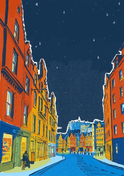 Architectural illustration of Grassmarket, Edinburgh by Jenny Elliott