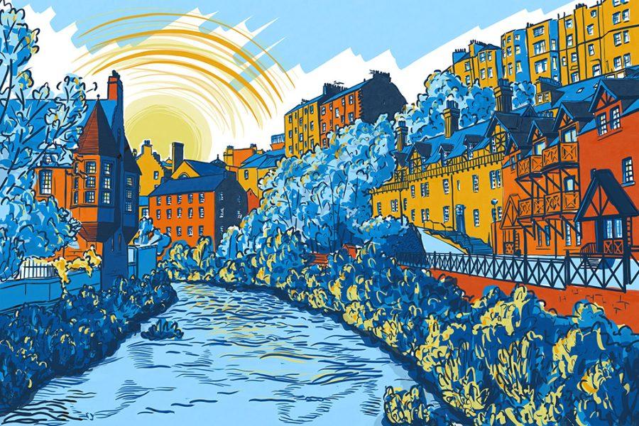 Architectural illustration of Dean Village, Edinburgh by Jenny Elliott