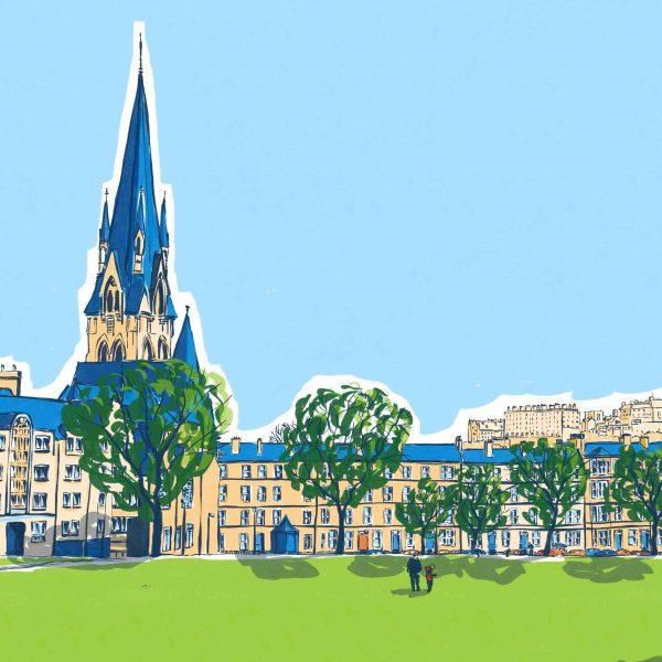 Architectural illustration of The Meadows, Edinburgh in summer by Jenny Elliott