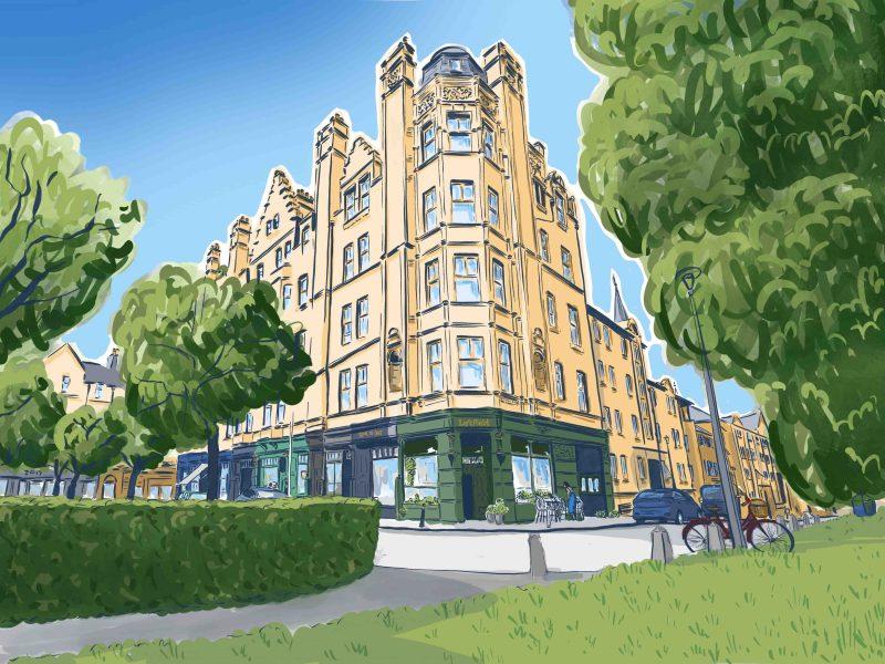 Architectural illustration of Bruntsfield, Edinburgh by Jenny Elliott