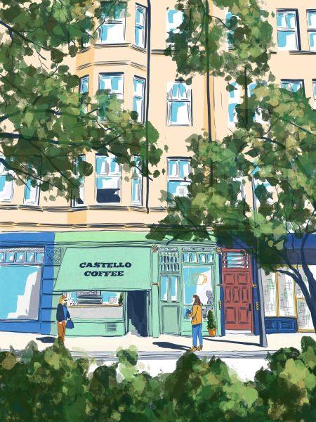 Architectural illustration of Castello cafe, Edinburgh by Jenny Elliott