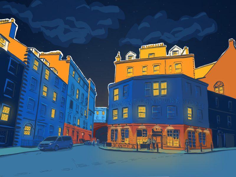 Architectural illustration of Candlemaker Row, Edinburgh by Jenny Elliott