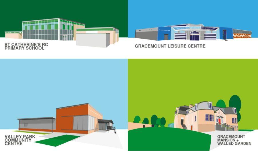 Vector illustration of key Council-owned public buildings for client Edinburgh