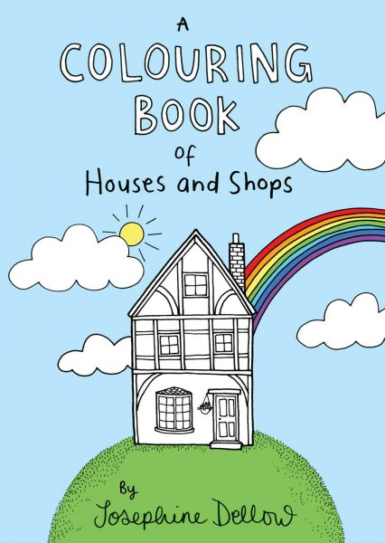 A colouring book of houses and shops - cover design