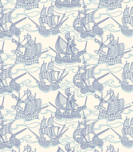 Blue Ships Pattern