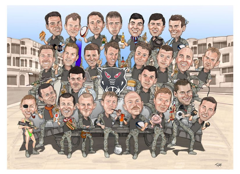 Group caricature army