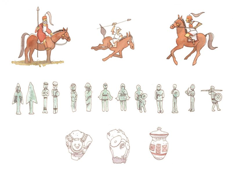 Horsemen and archaeological objects