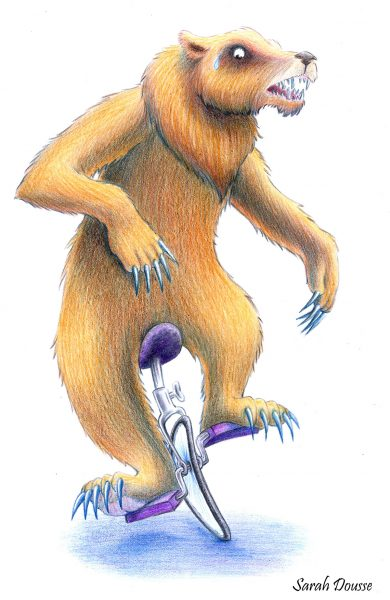a Bear on a unicycle
