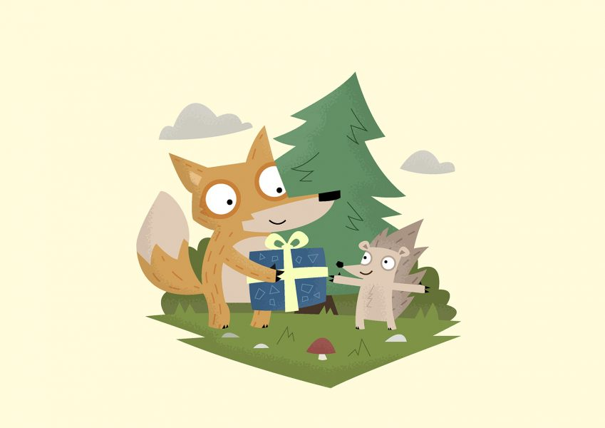 A Gift from a Fox - Vector Art