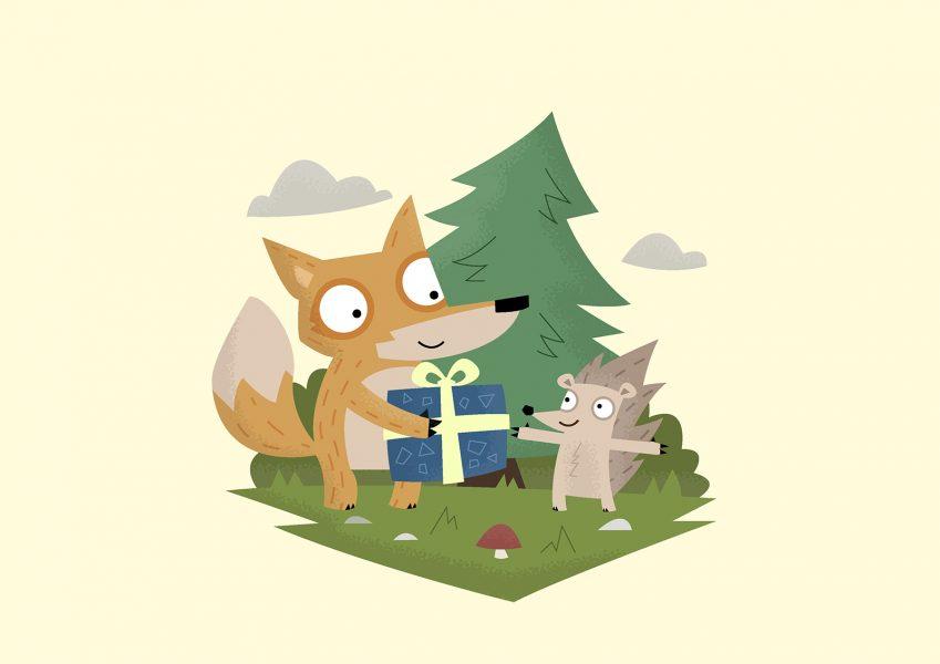 A Gift from a Fox - Vector Art