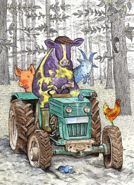 Animals on Tractor - Card Illustration