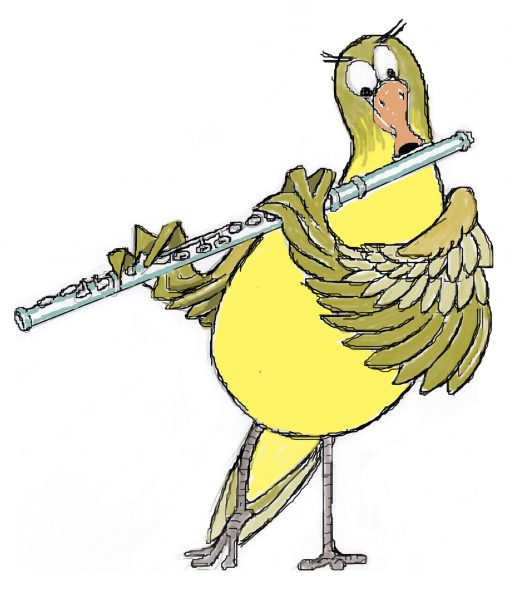 Bird playing flute