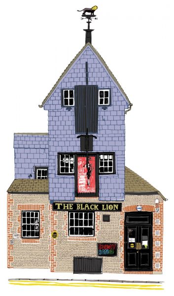 Black lion pub illustration