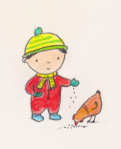 Boy and hen
