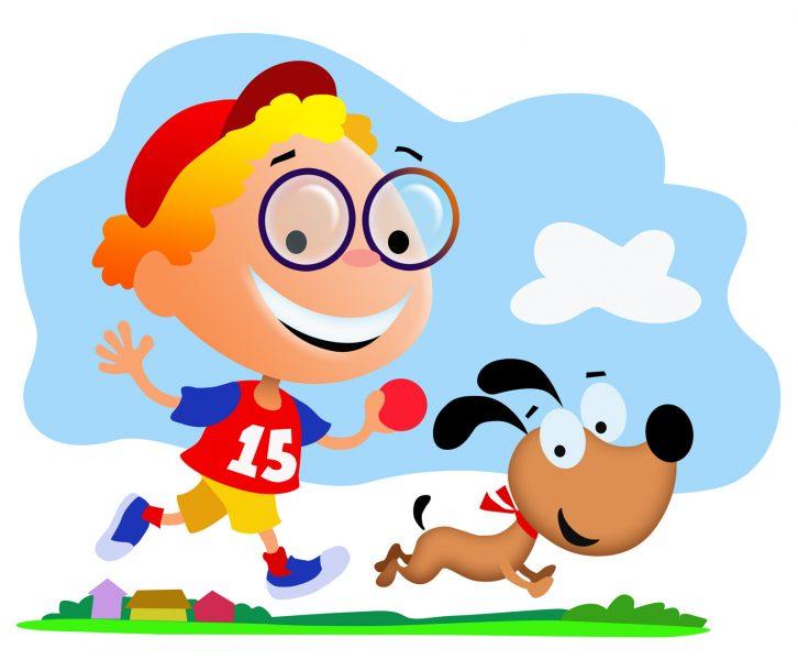 Boy Running with Dog