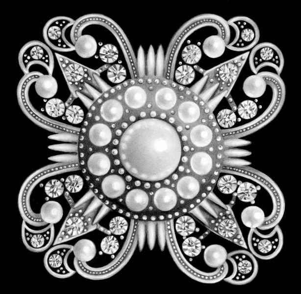 Brooch With Diamonds and Pearls