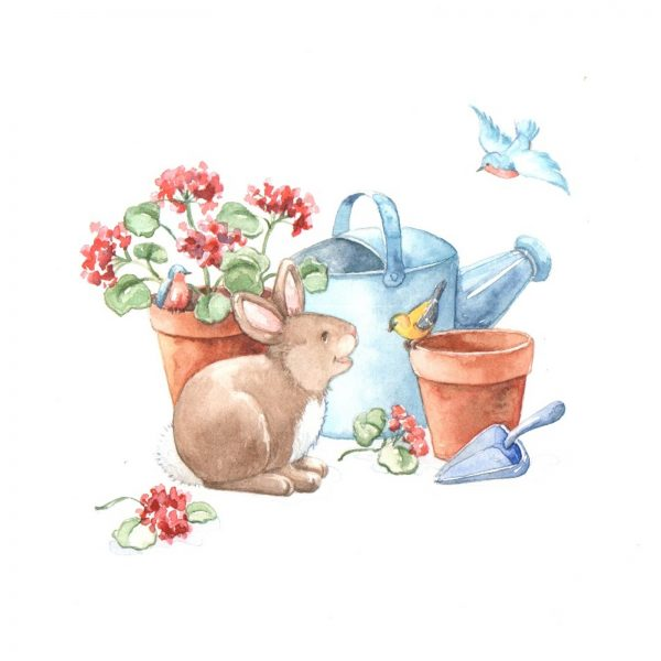 Bunny and Birds Gardening
