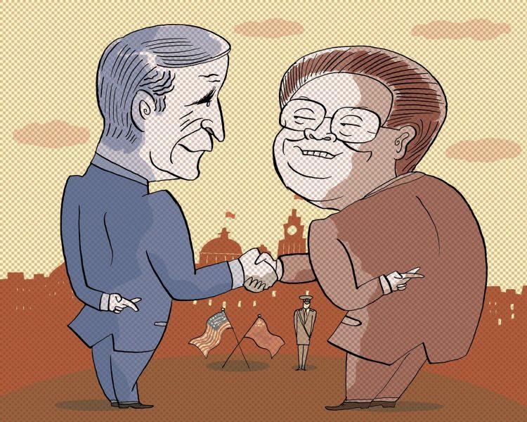 Bush and Zemin by Satoshi Kambayashi