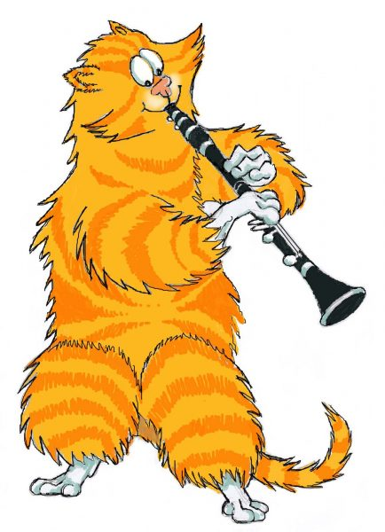 cat playing clarinet