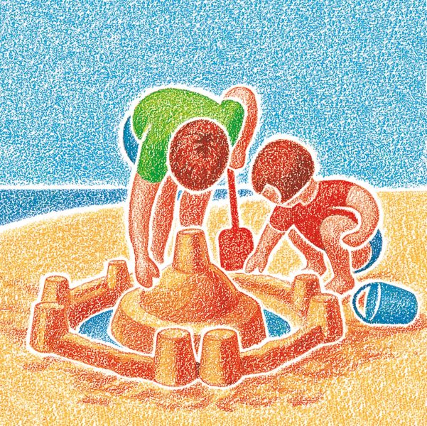Children + sand castle