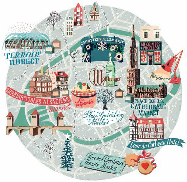 Christmas map of Strasbourg
