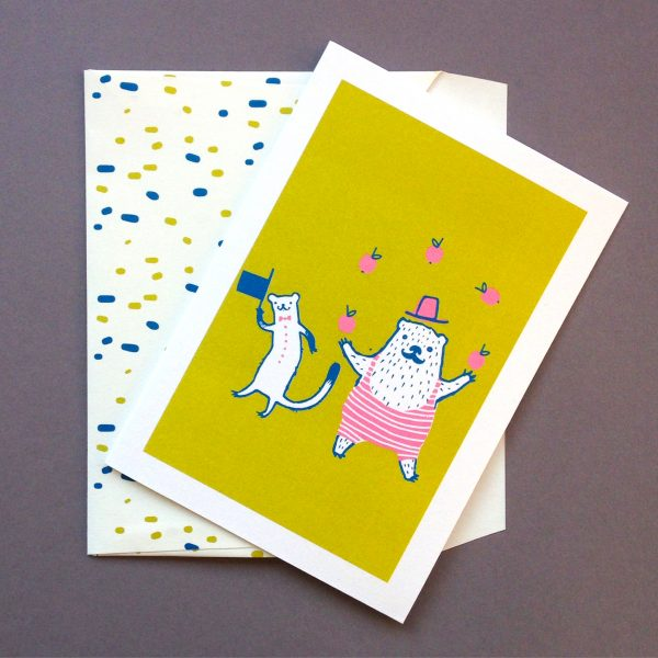 Circus Animals - greetings card and envelope