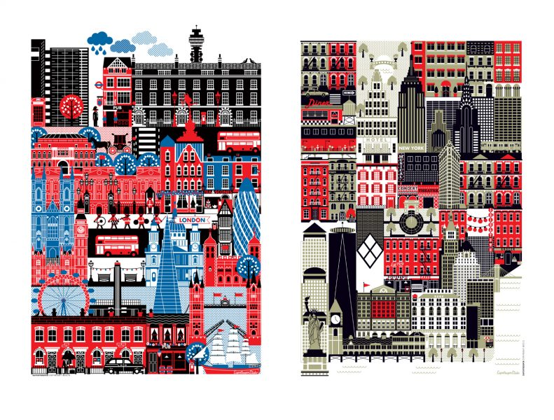 City illustration London and New York for greeting cards and print