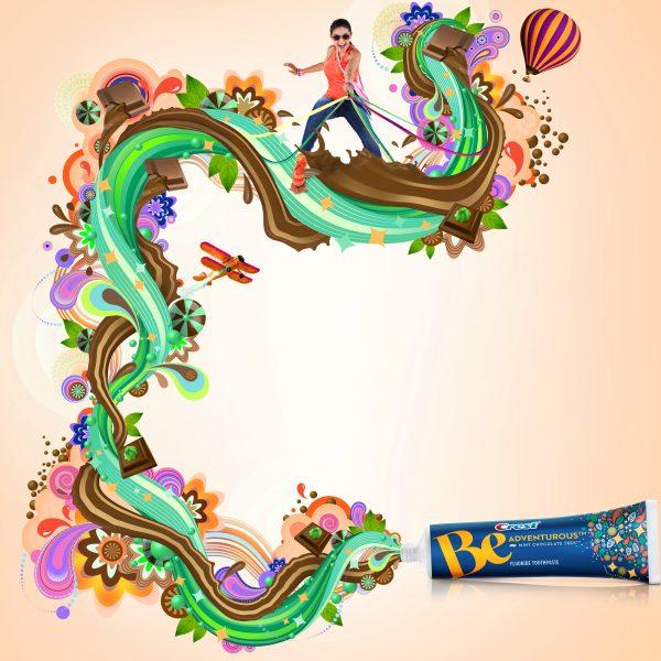 Crest advertising artwork