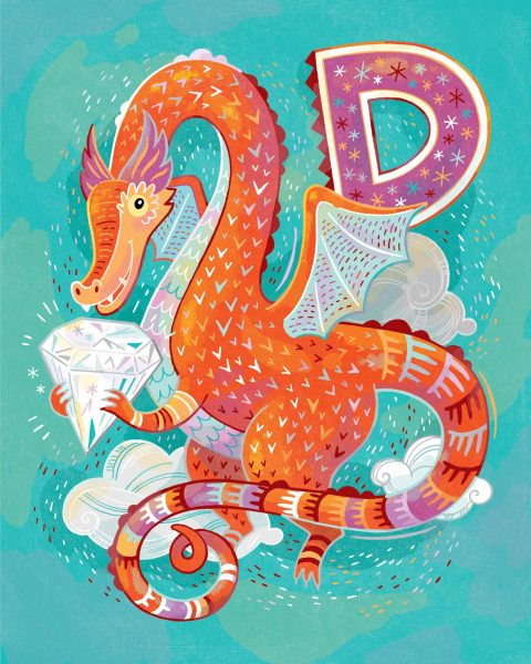 D is for Dragon Guarding a Diamond