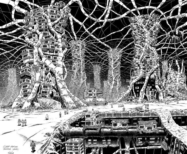 Dystopian future urban scene