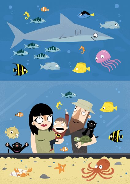 Family at the Aquarium - Vector Art