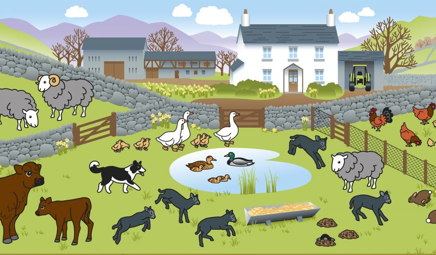 Farm sticker book illustration