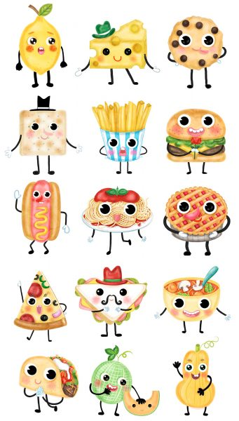 Food characters Design and illustration