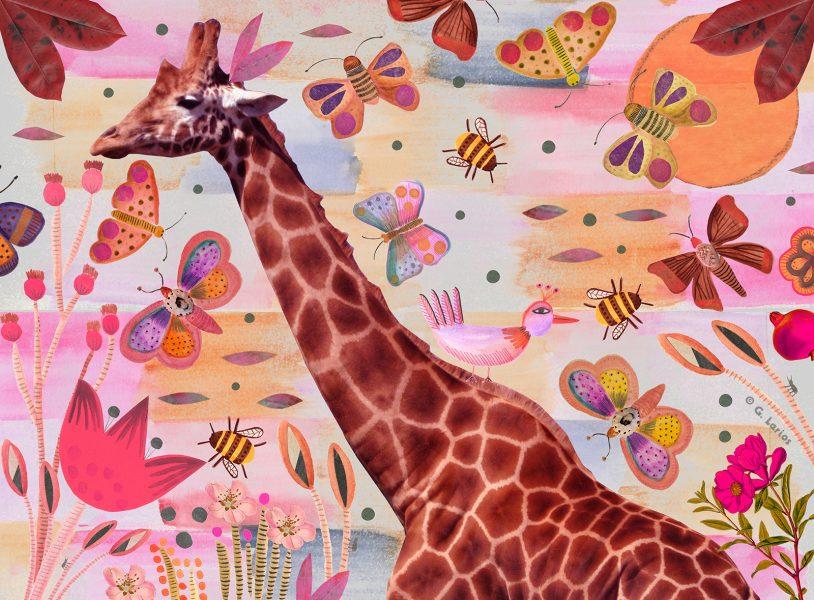 Giraffe and Butterflies