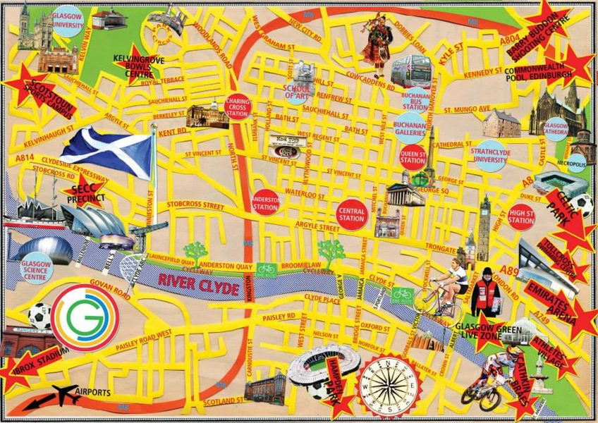 Glasgow Games Map Commonwealth Games Collage