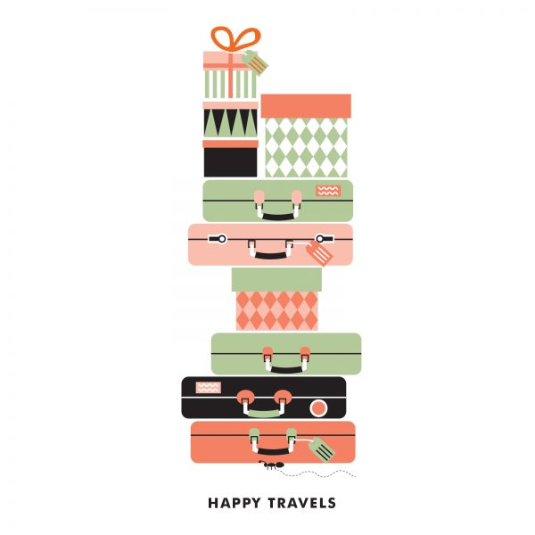 Happy travels illustration for greeting cards
