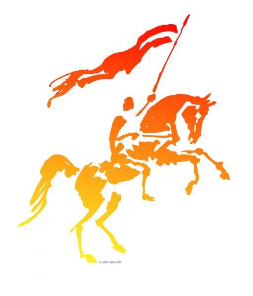 John Ashworth Heraldry Medieval Knight Horse & man Brushstroke casual loose dynamic romantic silhouette icon brand Logo