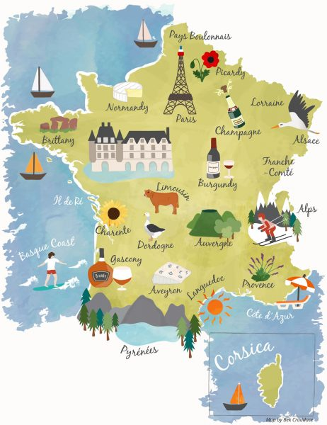 Illustrated French Regions Map