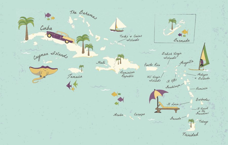 Illustrated Map of Caribbean Islands