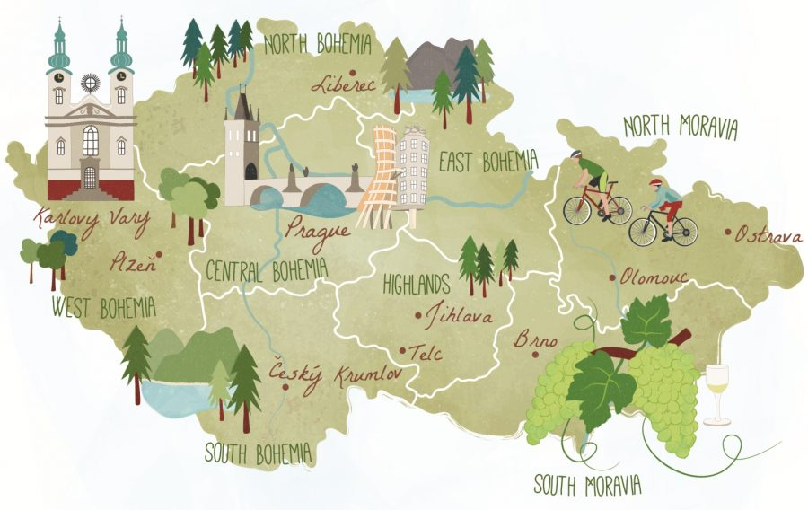 Illustrated map of Czech Republic for ABTA Magazine