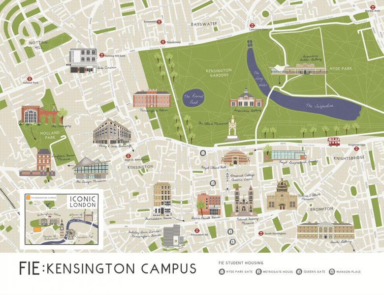 Illustrated map of FIE West London Campus
