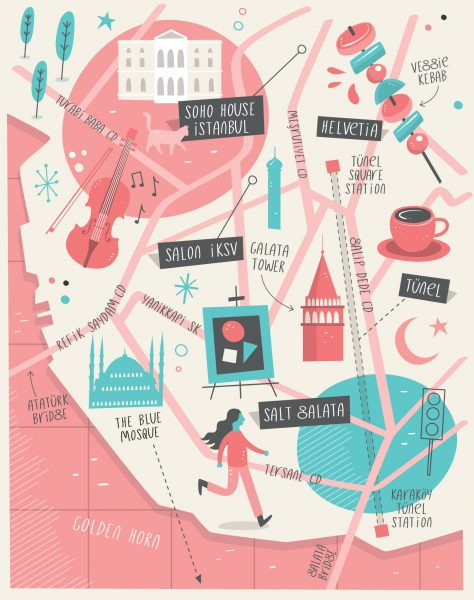 Illustrated map of Istanbul