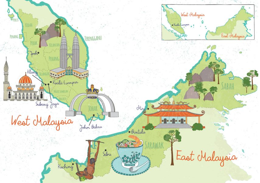 Illustrated map of Malaysia