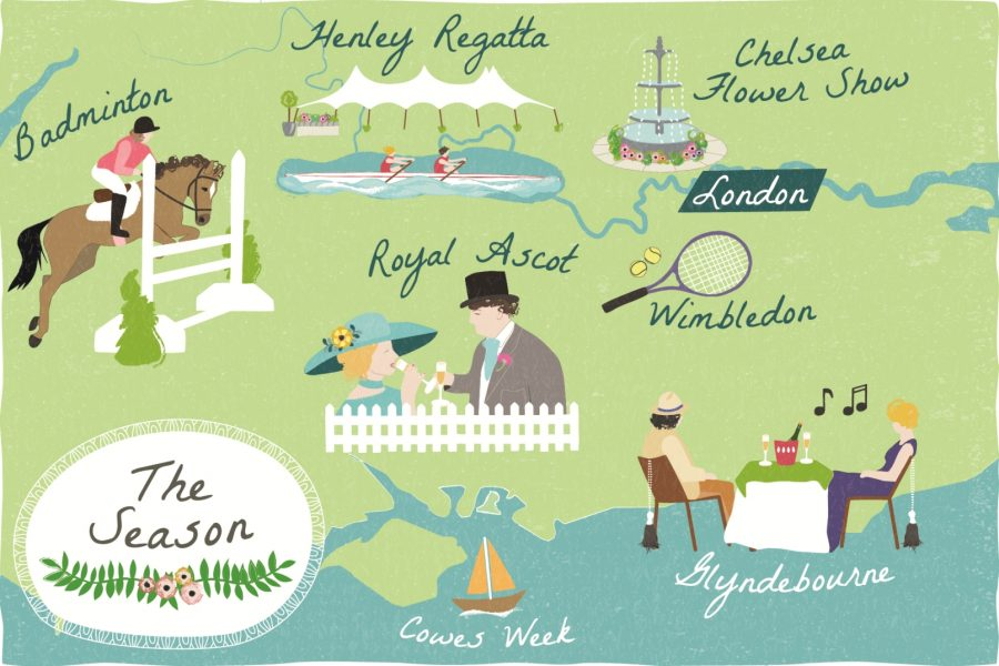 Illustrated map of the 'Summer Season' for Discover Britain Magazine